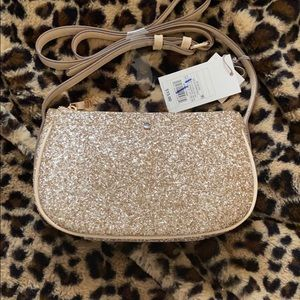 Gold glitter crossbody bag
